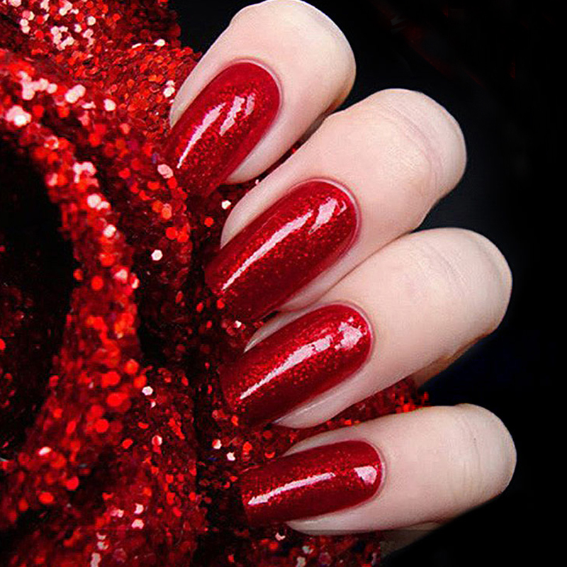 Red Gel Varnish Untuk Kuku Seni UV LED Gel Nail Polish Dengan Diamond Flash berkilau Glitter Warna Merah 10ml