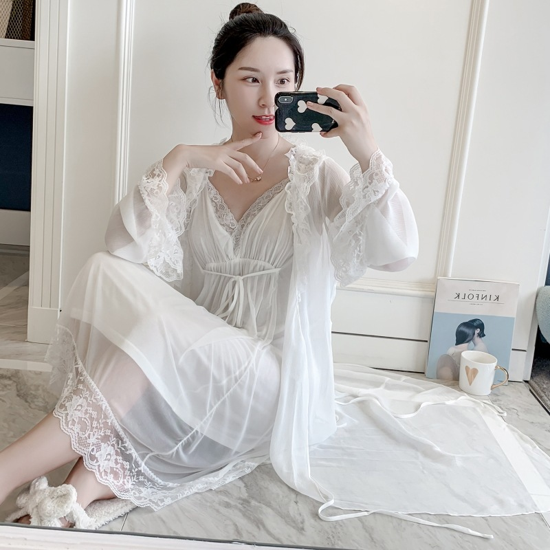Lisacmvpnel Retro Lace Women Robe Set V-Neck Nightdress Cardigan Twinset Sleepwear