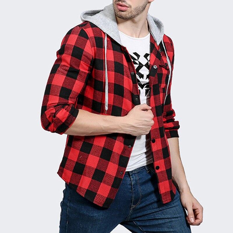 2017 Autumn Winter Man Long Sleeve Hooded Shirt Casual Plaid Outwear Sweatshirt Check Vintage Cotton Casual Hoddies Fashion New