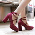 New style women pumps thick high heels platform pumps shoes ankle tie round toe wedding heels women stiletto shoes strappy heels