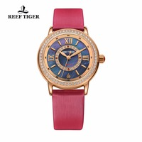 Reef Tiger/RT Quartz Watches Elegant and Romantic Diamonds Watch with MOP Dial Calfskin Leather Strap Watches for Women RGA1563