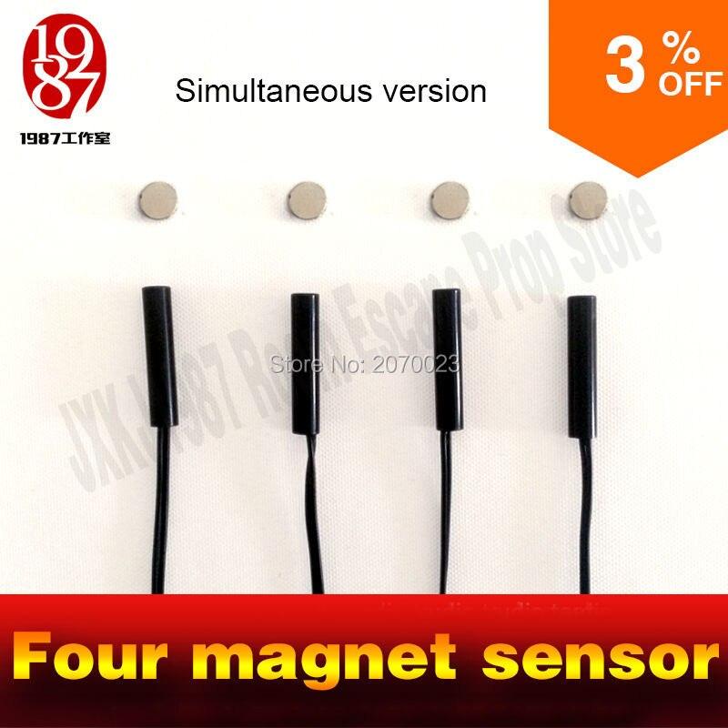 Игрушечный реквизит Tangram инструменты четыре магнита одновременная версия для разблокировки Пазлы для бега в реальной жизни с магнитным зам...