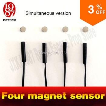 Tangram juego accesorios herramientas cuatro imán mismo tiempo versión cierre escapa de la vida real rompecabezas abre la cerradura magnética