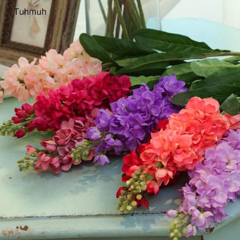 10pcs lot Artificial Flowers Fake Hyacinth Violet Silk Flower with Leaf Home Room Bridal Wedding Floral