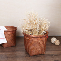 Pure Handmade Exquisite Rushes Woven Storage Basket Retro Flower Pot Trash Natural Environmental Protection Free Shipping