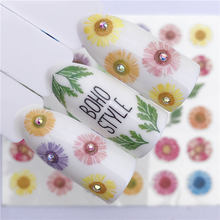 цена на 1 Sheet Water Transfer Nail Stickers Decals Color Flower Pattern Nail Art Stickers Wraps Manicure Decoration