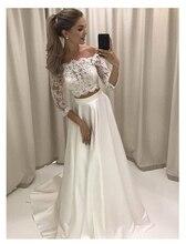 לורי לבן Boho חתונה שמלת תחרה 3/4 שרוולי שיפון פשוט נסיכת הכלה שמלת 2 סטים חתיכות תפור לפי מידה חתונה שמלת 2019