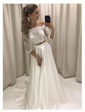 LORIE White Boho Wedding Dress Lace 3/4 Sleeves Chiffon Simple Princess Bride Dress 2 Sets Pieces Custom Made Wedding Gown 2019