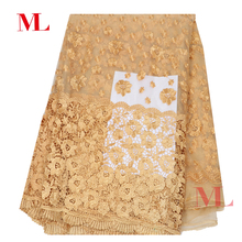 M&L 1yard Nigerian 2018 High Quality african fabric lace French lace rhinestones embroidery gold lowest price tj004