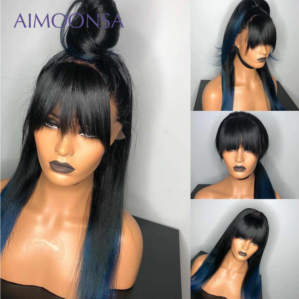 Blue Wig Ombre Lace Front Bang Wig Colored Human Hair Wigs With Bang 13x6 Brown Color