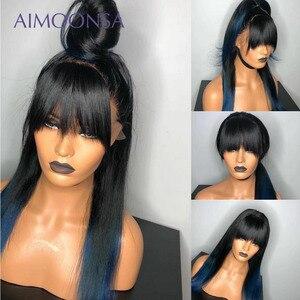 Image 3 - Blau Perücke Ombre Spitze Vorne Bang Perücke Farbige Menschliches Haar Perücken Mit Bang 13x6 Braun Farbe Gerade Spitze frontal Perücken Remy