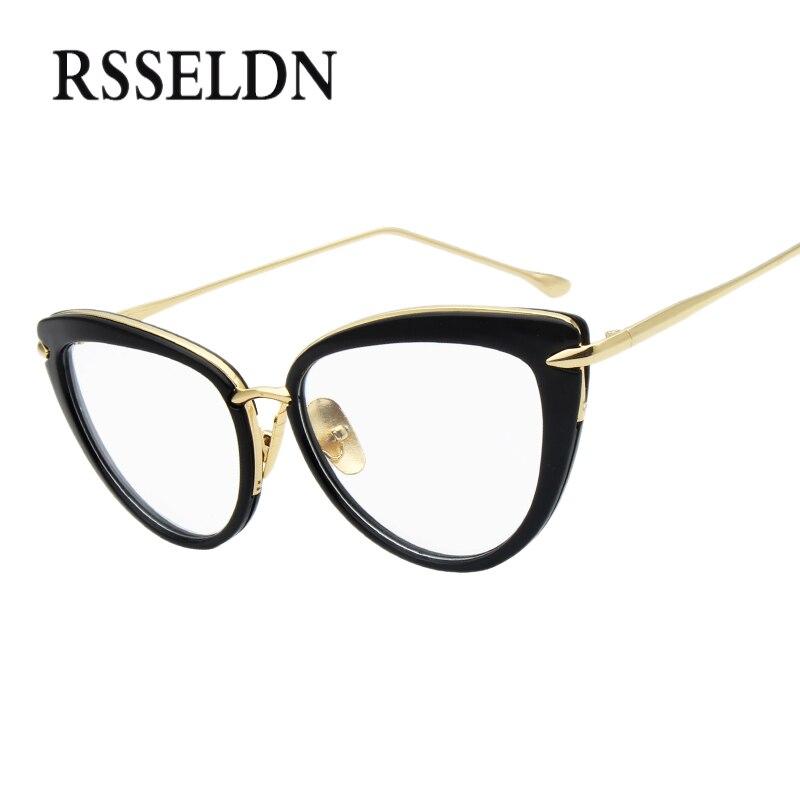 Rsseldn 2018 moda nuevas mujeres ojo Gafas marcos clásico marca diseñador Ojo de Gato de lujo Gafas moda lunetos vendimia