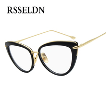 RSSELDN 2018 Fashion New Women Eyeglasses Frames Classic Brand Designer Luxury Cat Eye Glasses Trendy Lunettes Vintage