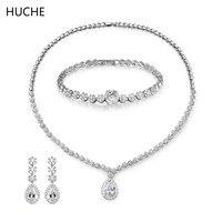 HUCHE Dubai Jewelry Sets AAA Cubic Zirconia Necklace Earrings Bracelet Women Luxury Wedding Jewelry Accessories For
