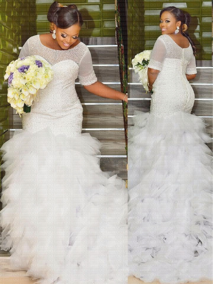 2019 African Luxury Short Sleeve Full Beads Ruffle Mermaid Wedding Dress Bridal Gown