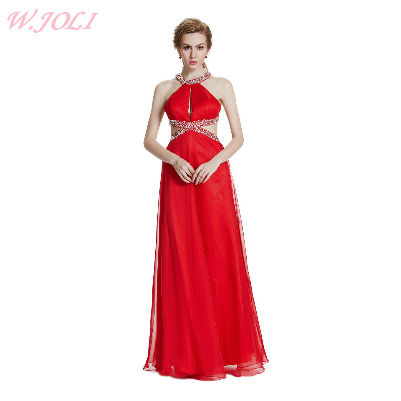 W.JOLI 2017 Sexy Red Long Evening Dress Cytal Beading Bride Bankett - Spesielle anledninger kjoler - Bilde 1
