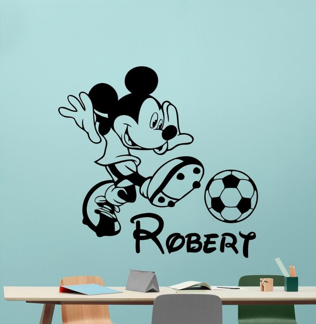 Exceptional Mickey Mouse Wall Decal Boy Sport Soccer Football Ball Custom Name Cartoons  Vinyl Sticker Nursery Wall