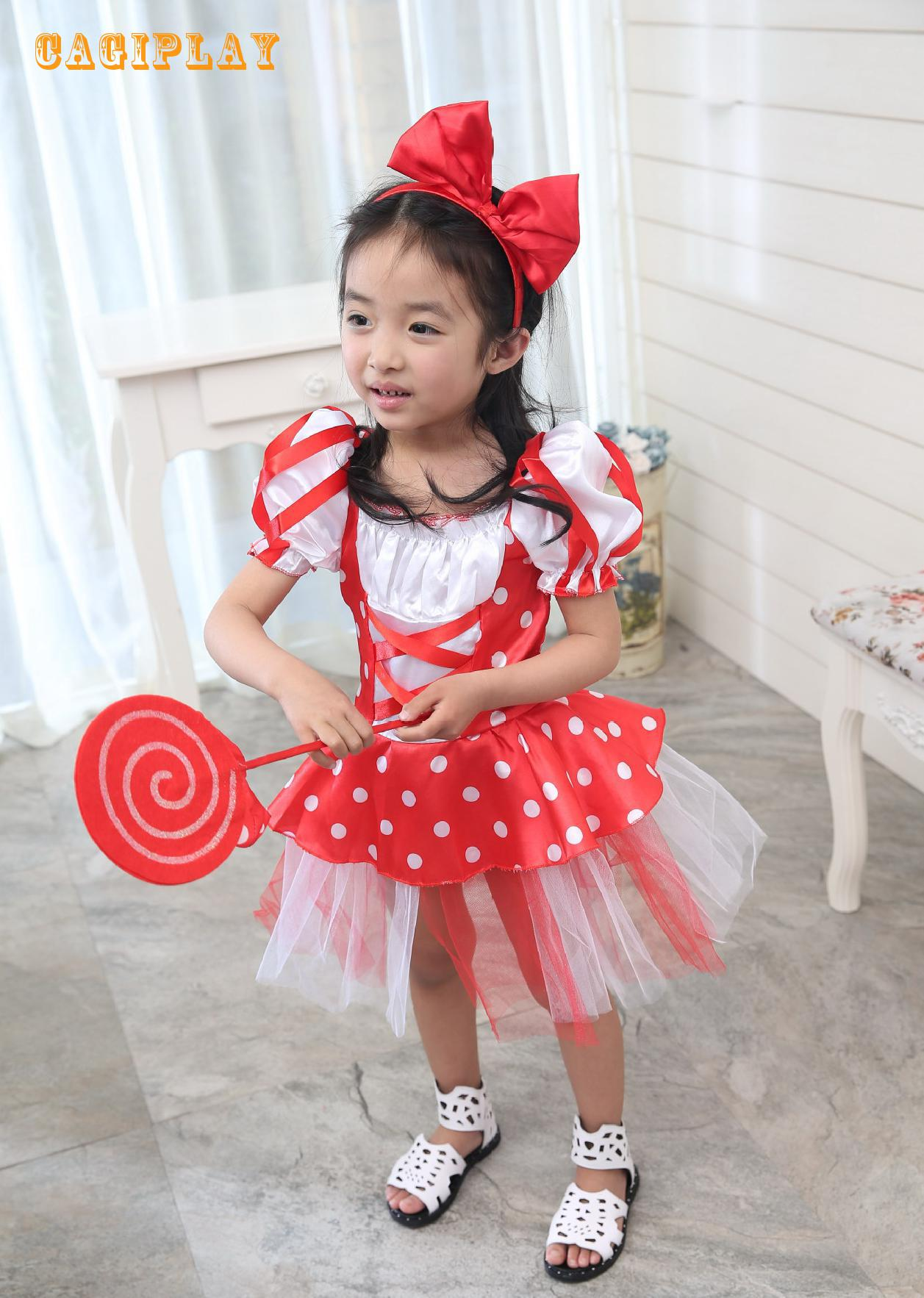 2018 New Lovely Red Candy Dress Princess Dress Girl Carnival Cosplay Clothing Halloween Costume For Kids Age 3-10 Years ...