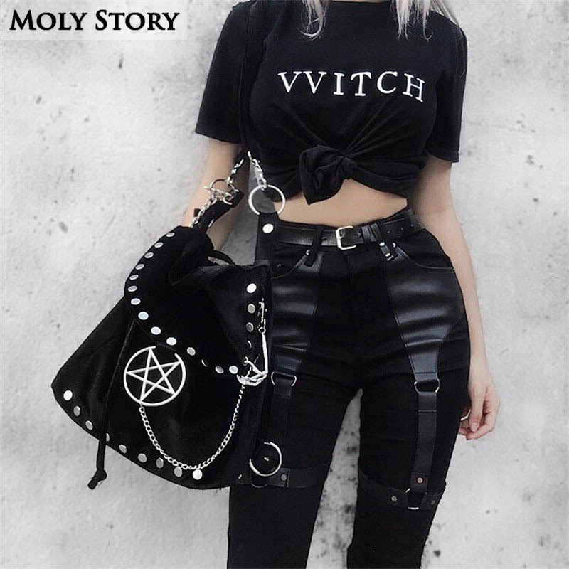 New Black PU   Jeans   Women High Waist Ladies Patchwork Leather Gothic Pants Skinny Sexy Slim Pencil   Jeans