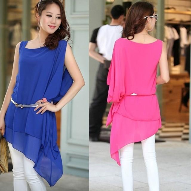 13 female fashion irregular loose plus size chiffon sleeveless vest one-piece dress