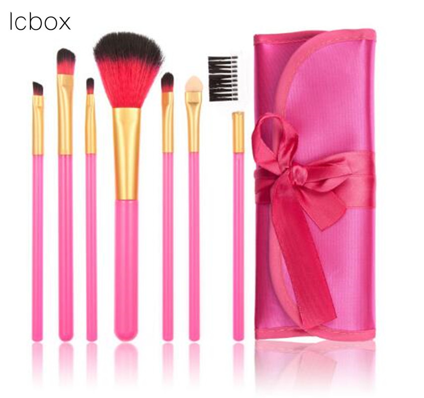 LCBOX  7PCS Professional Makeup Brushes for Eyeshadow Eyeliner Lip blusher Powder foundation Cosmetic Toiletry Kit with bag/case lcbox professional 12pcs cosmetic makeup brushes set blusher eyeshadow powder foundation eyebrow lip make up brush with bag
