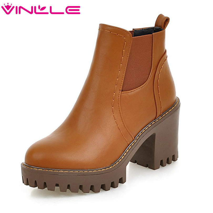 VINLLE 2018 Women Boots Shoes Ankle Boots Square High Heel Round Toe Slip On Beige Ladies Motorcycle Shoes Size 34-43 vinlle 2018 women boots shoes ankle boots square high heel round toe slip on beige ladies motorcycle shoes size 34 43
