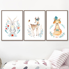 Watercolor Deer Rabbit Bear Fox Nordic Posters And Prints Wall Art Canvas Painting Animal Pictures Kids Room Nursery Decor