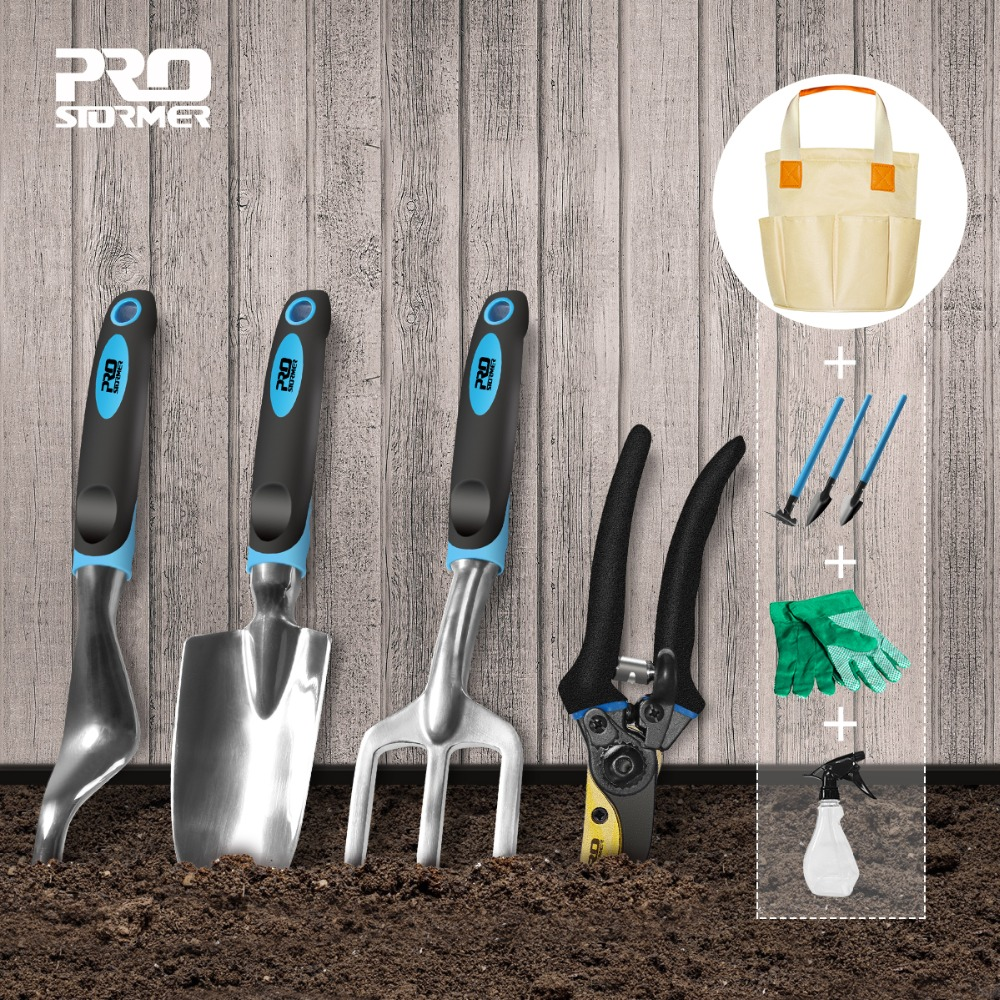Prostormer 10 PCS Garden Tool And Bonsai Shovel Tools Set Garden Scissors With Gloves Gardening Gifts With Trowel Pruners