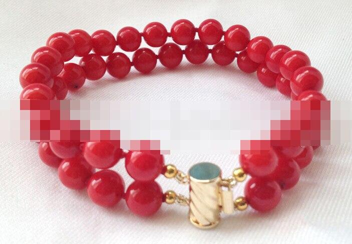 Vente chaude >@@> 00895 2row rond rouge corail bracelet or rempli fermoir
