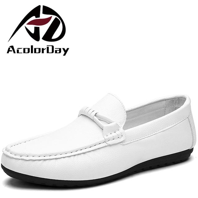 AD AcolorDay Venta Caliente Barato Slip-on Mocasines mocasines Los Hombres de La Pu de cuero de Lujo de Los Hombres Sólidos Zapatos Negro Blanco Suave Zapatos de Conducción 39-44