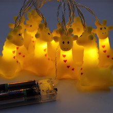 Cute Light String 1.2M 10Leds Silicon Animal Duck/Puppy/Hipoo LED String Battery Operated Kids Bedroom Decoration Creative Gifts