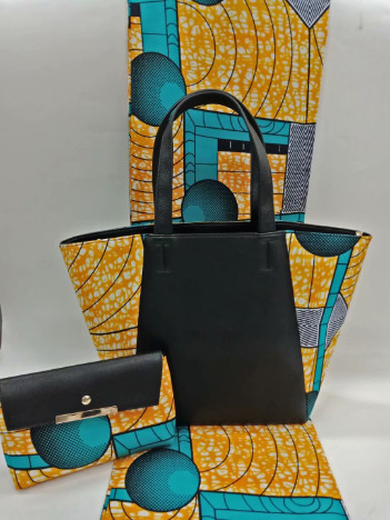 (3pcs/set)6yards orange and teal african hollandais wax macthing african handbag and african purse for african wome May-29-2018