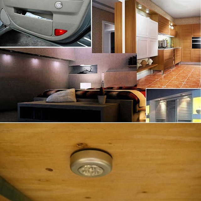 Silver 3 LED Closet Cabinet Lamp Battery Powered Wireless Stick Tap Touch Push Security Kitchen Wall Car Night Light 1PC
