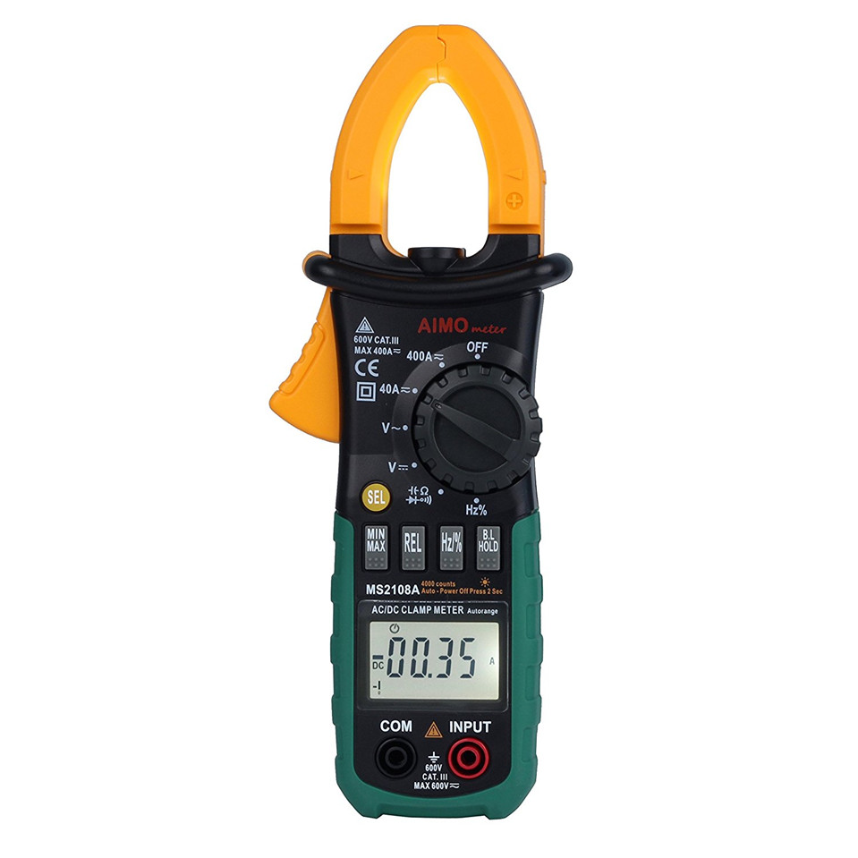 MASTECH MS2108A Digital LCD AC DC Current Clamp Meter Auto Range Multimeter Frequency Capacitance Meter Tester Free Shipping digital clamp meter mastech ms2108a auto range multimeter ac 400a current voltage frequency clamp multimeter tester backlight
