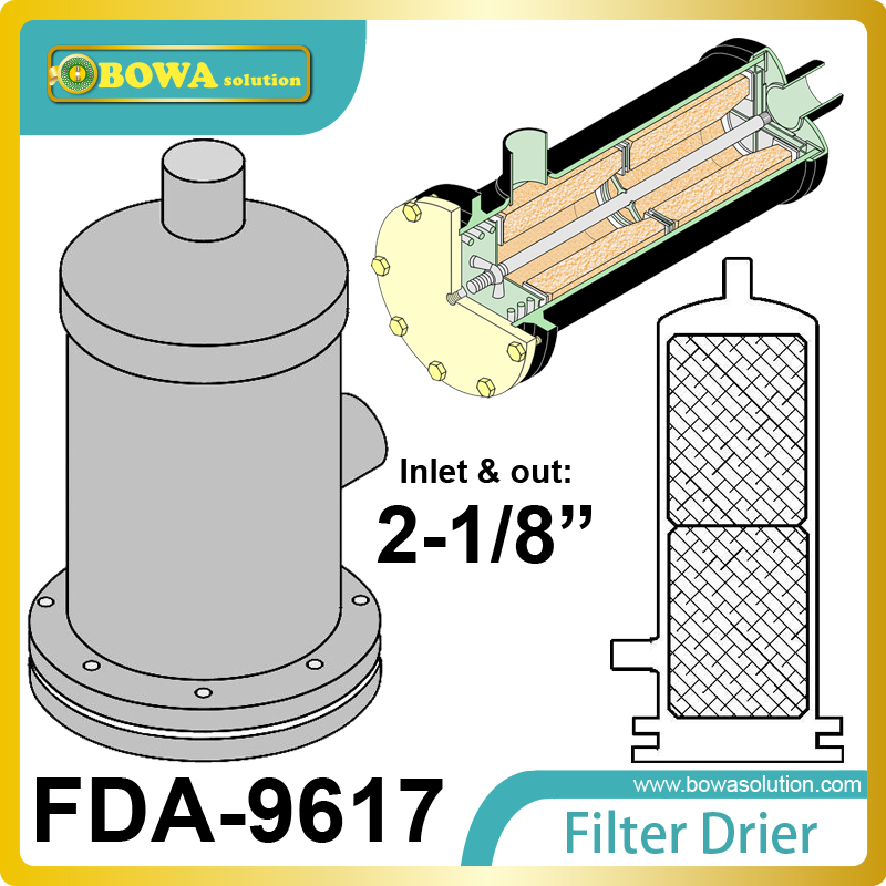 FDA-9617 replaceable core filter driers are used in both the liquid and suction lines of ultra-low freezer  unit fda 487 replaceable core filter driers are designed to be used in both the liquid and suction lines of refrigeration systems