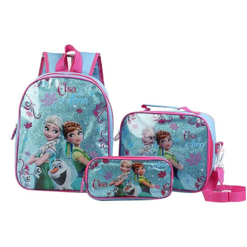 High Quality 3 Pcs/Set Kids Girls Cartoon Elsa Princess Schoolbags Cute Boys Backpacks Children School Bag