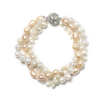 Consisting of 7*10 mm and 8 mm with 3*6 mm Different shapes and sizes With White and yellow Freshwater Natural pearl bracelet