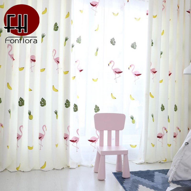 Flamingo Embroidered Kids Curtains For Living Room Sheer Curtains For Children Bedroom Window Blinds Modern Home Decor Drapes Curtains Aliexpress