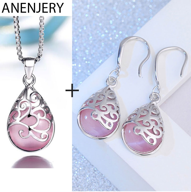 ANENJERY S925 Stamp Silver Color Jewelry Sets Moonstone Opal Tears Totem Necklace+Earrings For Women Gift