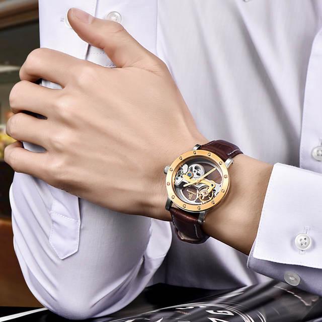 44e2d826d86 IK colorir relógio mecânico automático double-sided oco relógios dos homens  maré de aço mesa