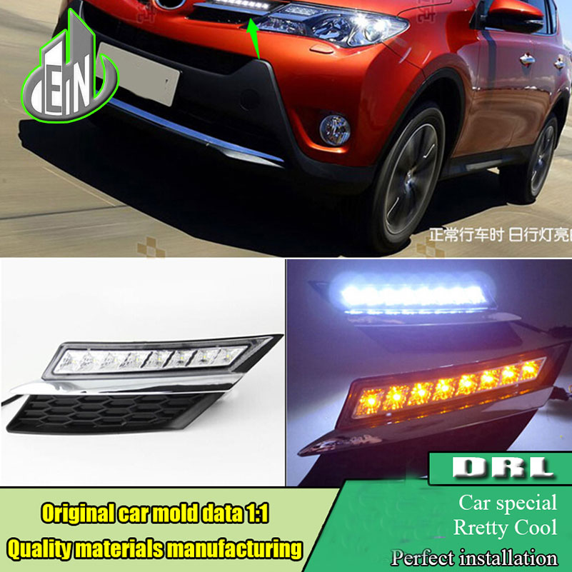 Car styling DRL 2013 2014 2015 For Toyota RAV4 Led daytime running light Grille Daylight DRL with Yellow signal Turning function 2pcs new style led drl car daylight daytime running lights for toyota camry aurion 2012 2013 2014 with turn signal lamp function