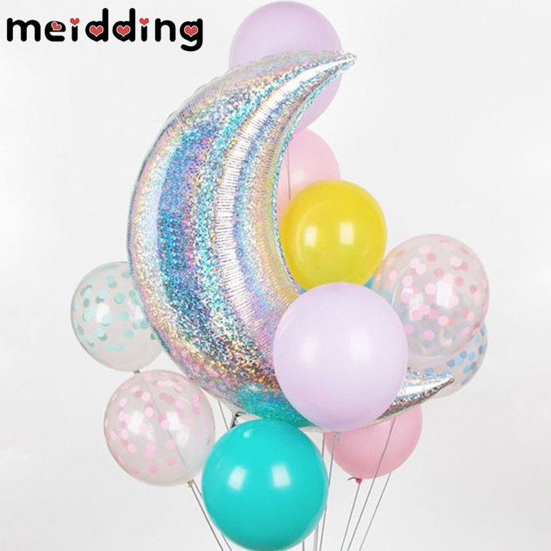 MEIDDING 36inch Big Moon Balloons Aluminum Foil Air Globos Christmas Wedding Baby Shower Birthday Decoration Party Supplies