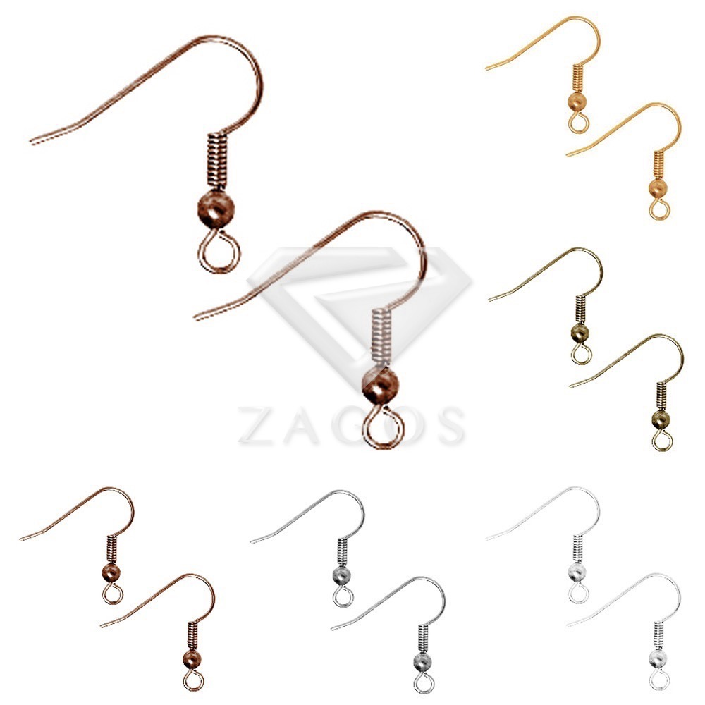 130pcs Hook Ear Wires With Spring and Ball18x16.5x3mm Earring Findings Ear For Jewelry Making Crafts Wholesale 5 Color Choose