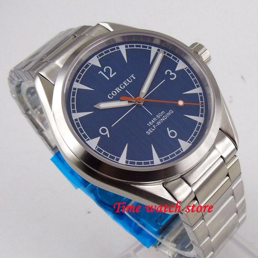 Stałe 41mm Corgeut zegarek męski świecące szafirowe szkło 5ATM szczotkowanego bransoletka automatyczny zegarek z czujnikiem ruchu mężczyźni team166 w Zegarki mechaniczne od Zegarki na  Grupa 1
