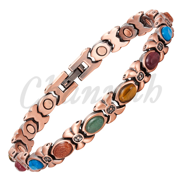 Channah 2017 Women Magnetic 14pcs Colorful Semi-Precious Stones Copper Plating Ladies Bracelet Jewelry Free Shipping Charm