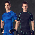 Free Shipping Mens  Suit Elastic Compression Speed Drying Tights Workout Clothes With Short Sleeves Shapers Tops