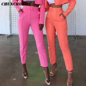 Women Pants Belt-Suit Work-Wear Formal High-Waist Straight Femme Leg-Slacks OL Candy-Color