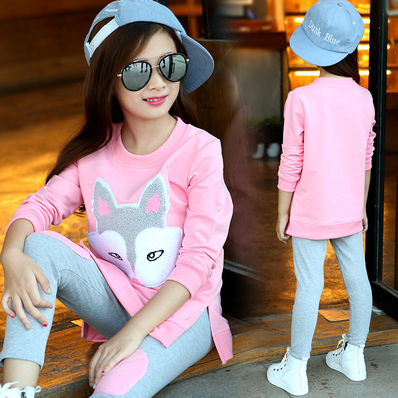2017 Autumn Children Girls Clothing Suits New Pattern Cotton 2Pcs Sets T-shirts + Pants Fashion Clothes Toddler Tracksuits 13 14
