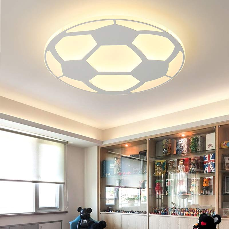Modern Kids Football Lamp Led Ceiling Light With Remote Control Living Room Bedroom Children Room Decor Home Lighting Acrylic black and white round lamp modern led light remote control dimmer ceiling lighting home fixtures