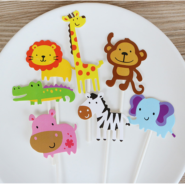 7pcs Cute Wild Animal Cake Toppers Jungle Party Supplies Kids 1st Birthday Decorations Zoo Safari Topper Christening Decor